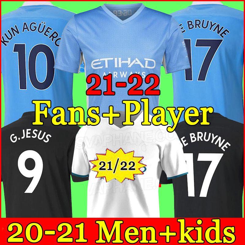 Jersey de football Manchester 21 22 G. Jésus City Sterling Ferran de Bruyne Kun Aguero 2021 2022 Chemises de football Homme Uniformes Hommes + Kids Kit