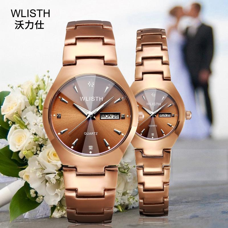 المعصم wlisth عاشق العلامة التجارية الأصلي الساعات النساء الرجال الكوارتز ساعة اليد الفولاذ المقاوم للصدأ روز الذهب الأزياء زوجين زوج ووتش ساعة
