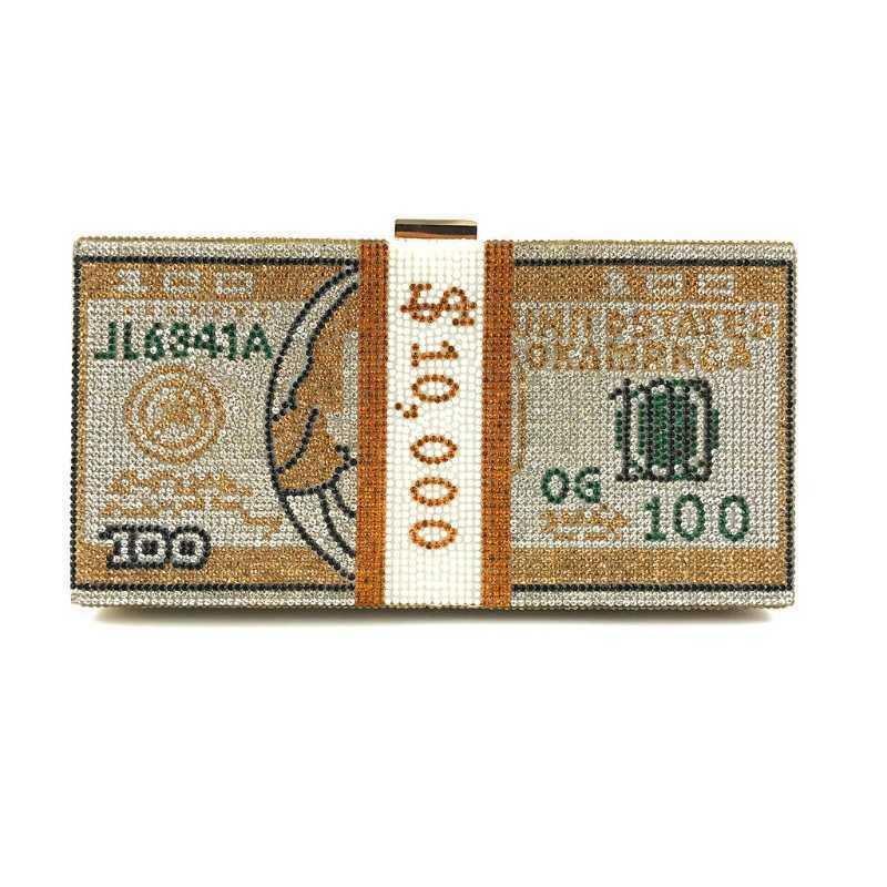 مخلب المال حجر الراين محفظة 10000 دولار كومة من حقائب اليد النقدية مساء Q0709