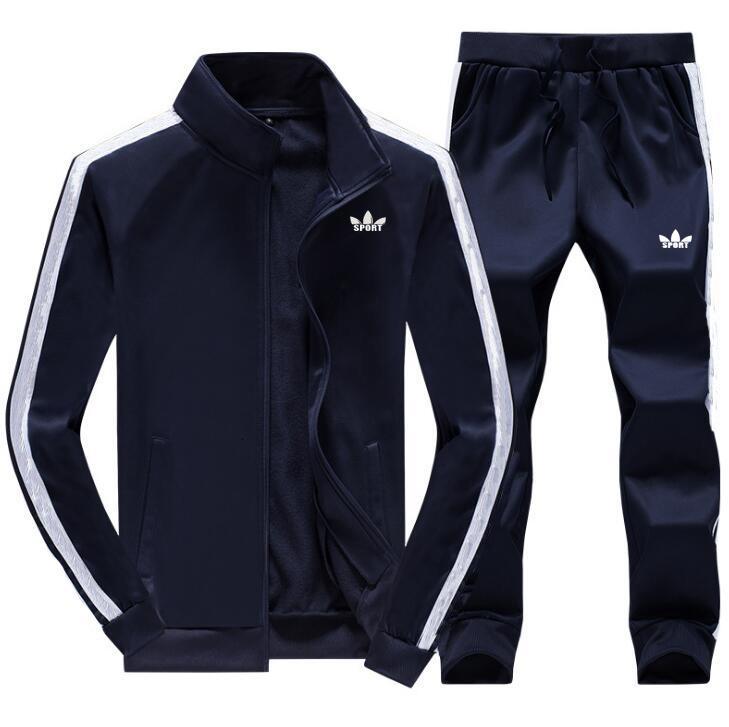 Hommes Walk Fermeture à glissière Gym TrackSuit Sport Jacket Set Pantalons Jogging Bas Top SweatSuits Blazer Train Suitz5DM