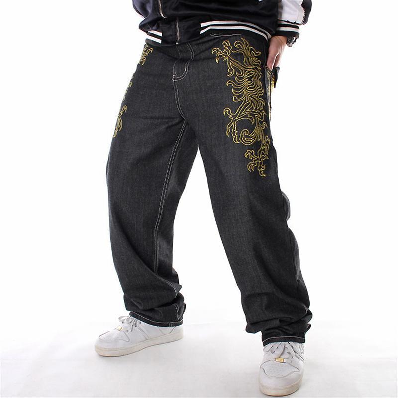 Dance da uomo Danza Hiphop Jeans Moda Ricamo Black Black Slose Scheda Denim Pantaloni Denim Generale Gesticolare Maschio Rap Hip Hop Jeans Plus Size 46