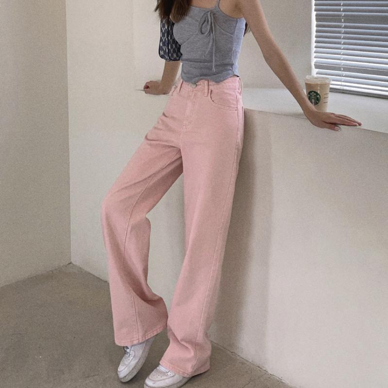 Women's Pants & Capris Pink Jeans Summer 2021 High Waist Slimming Wide Leg Loose Straight Trousers Denim Joggers Women
