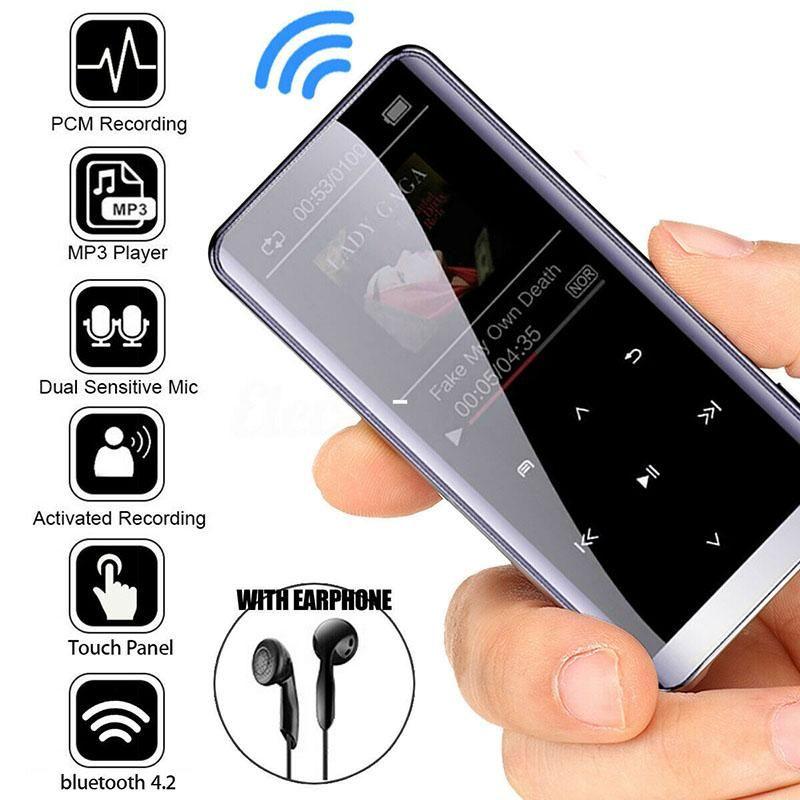 MP4 jogadores Bluetooth MP3 Player HiFi Sport Music Speakers Media FM Radio Recorder Portable Audio e vídeo