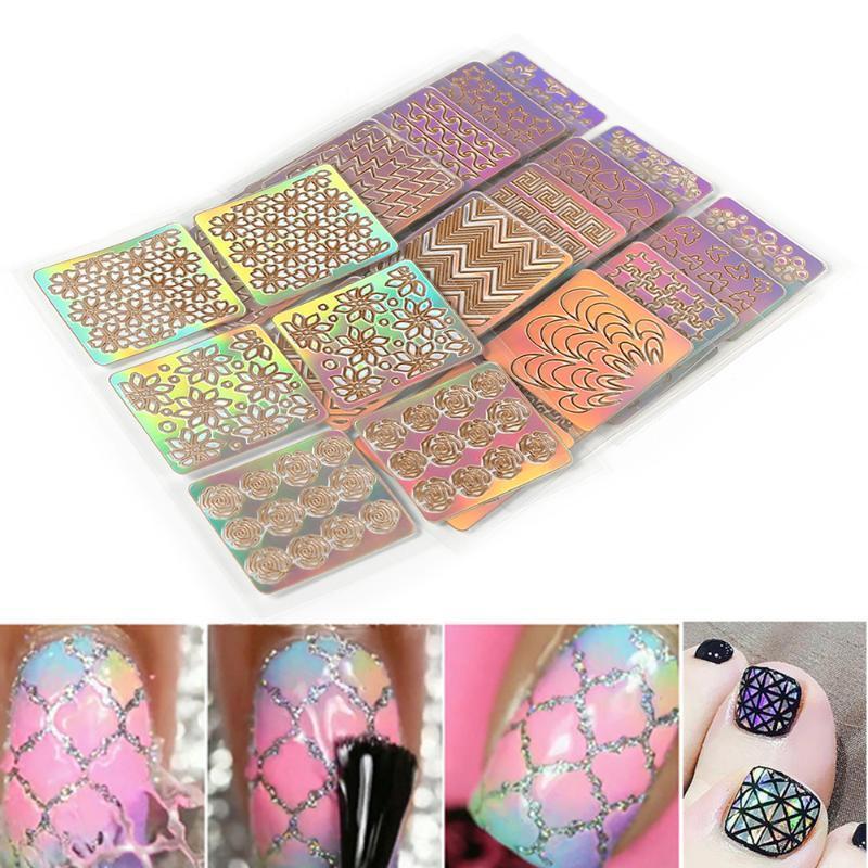Красочный смешанный 3d дизайн дизайна ногтей маникюр наклейки декоративные полые наклейки шаблон трафарета шаблон ПВХ 6 шт.