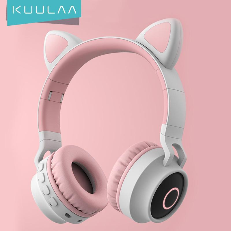 LED Cat Ear Noise Cancelling Headphones Bluetooth 5.0 Young People Kids Headset Support TF Card 3.5mm Plug With Mic