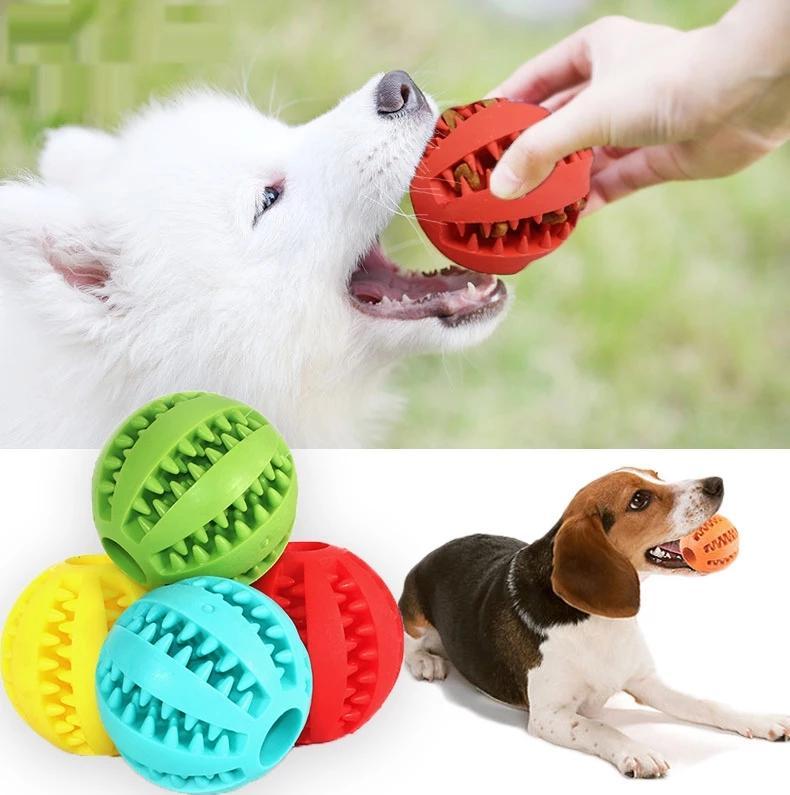 Brinquedos para animais de estimação 5 cm cão elasticidade interativa bola natural borracha vazando dente bolas limpas gato mastigar interactivetoys wll415