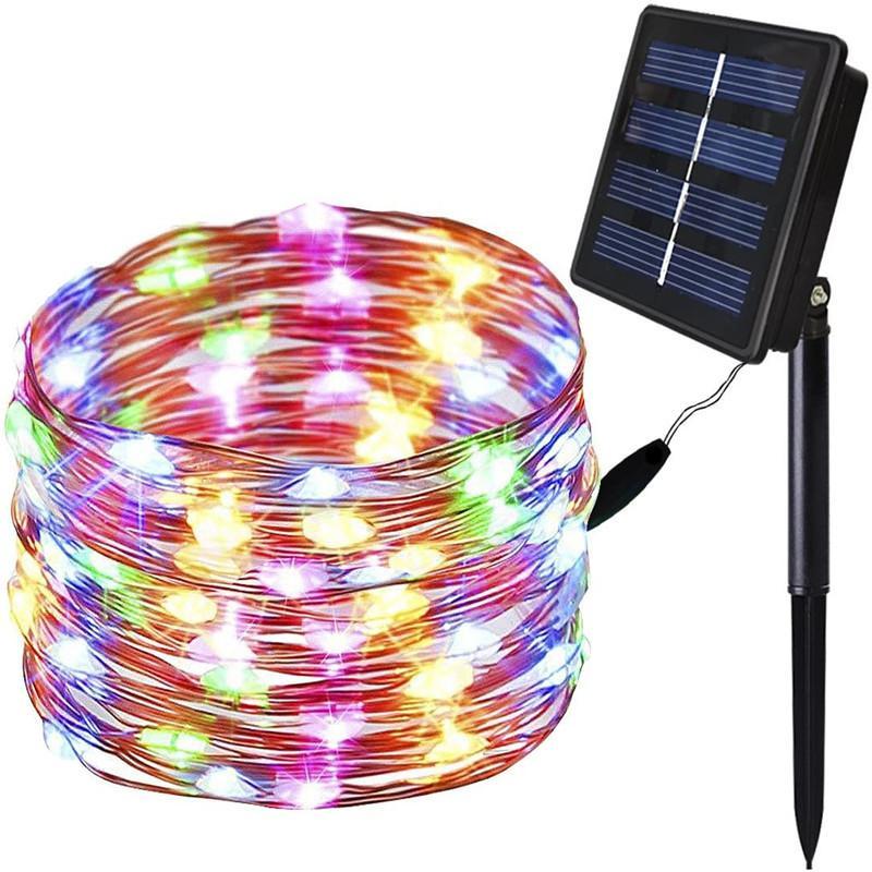 أضواء سلسلة شمسية عيد الميلاد 33/66 قدم 100 / 200LED أضواء الأسلاك النحاسية 8 أمهات الجنية أضواء سلسلة ماء الخيانات ل patio gardengate 185 v2