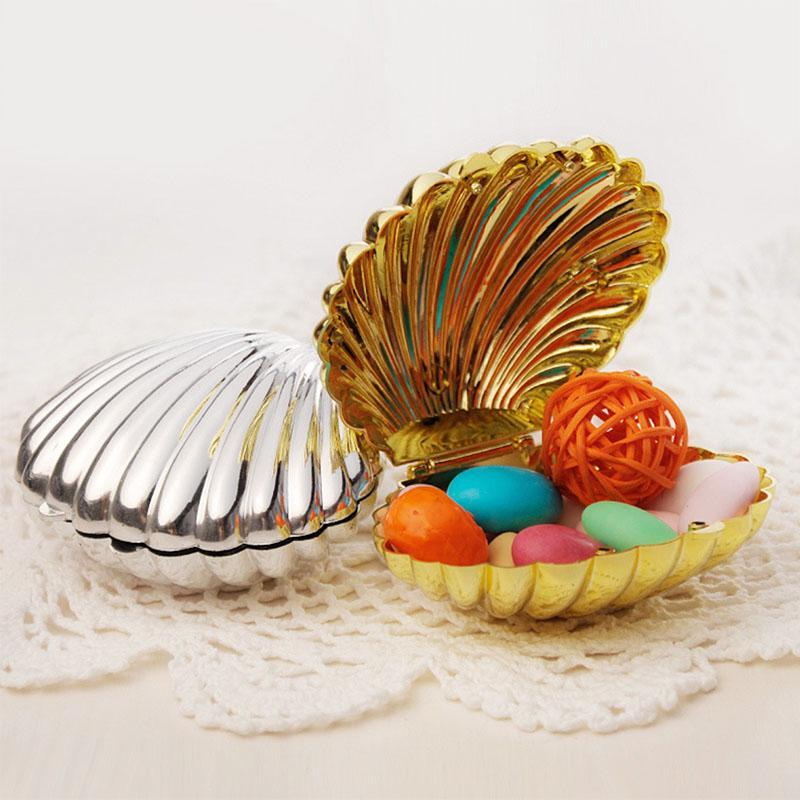 50 sztuk Silver Gold Shell Wedding Candy Box Favors Gift Wrap Sweet Boxes Boże Narodzenie