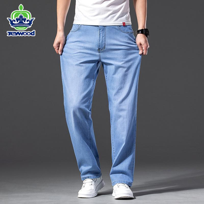 Erkekler Lyocell Kumaş Kot Klasik Yaz Pamuk Düz Streç Marka Denim Pantolon Tulum Hafif Mavi Fit Pantolon 40 42 44 46 erkek