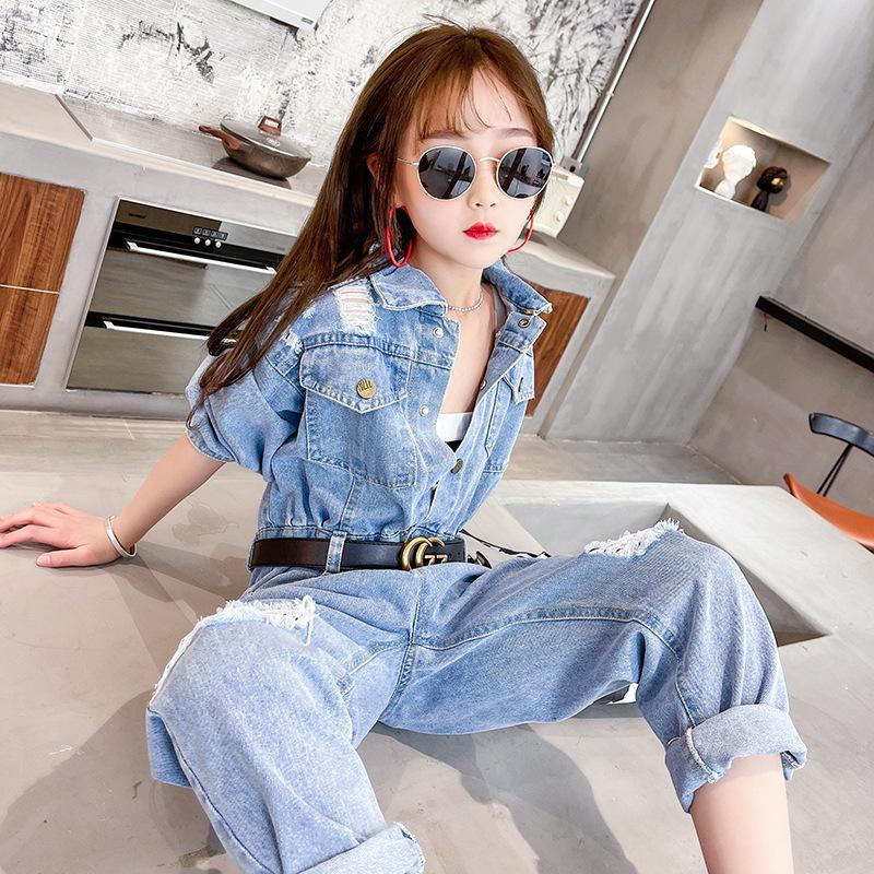 Teen Girls Jumpsuit Blue Jeans Overalls For Kids Clothes Set Pants Age 12 13 14 Year Children's Ripped Outfits Clothing Sets