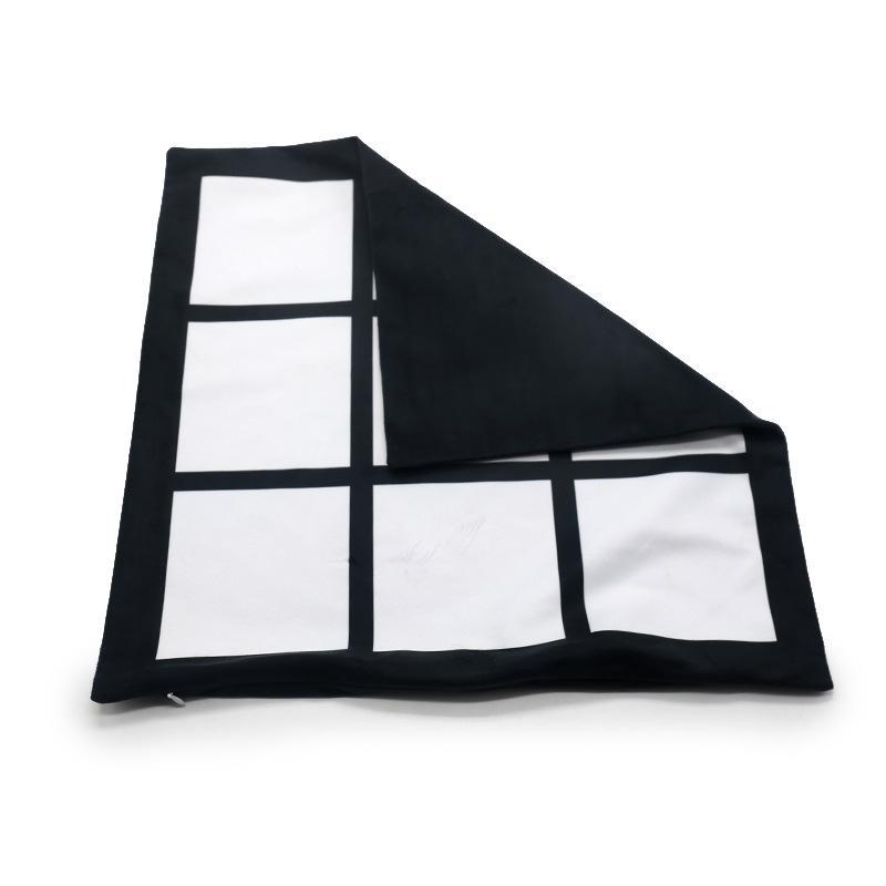 Sublimation Leeres Kissenbezug schwarz Gitter Gewebtes Polyester Kissenbezug Wärmeübertragung Kissenbezug Wurf Sofa Kissenbezüge 40 * 40 cm GWE6742