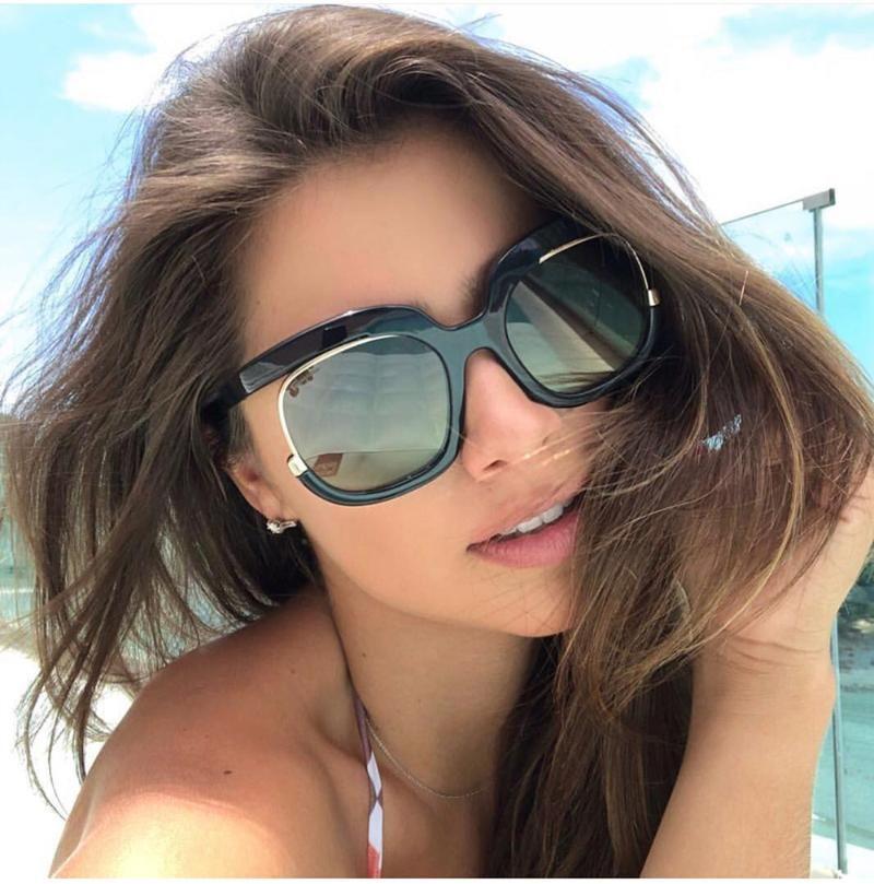 Büyük Çerçeve Kedi Gözü Güneş Kadınlar 2021 Tasarımcı Gözlük Erkekler