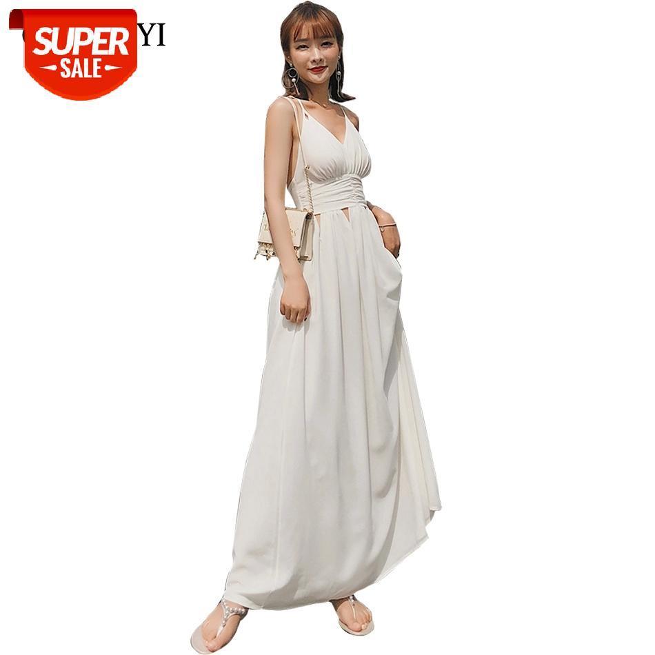 Guyunyi hueco fuera vestido maxi gasa blanco sólido sexy profundo v cuello noche fiesta elegante vestidos de correa de espagueti vestidos CX961 # VE0U