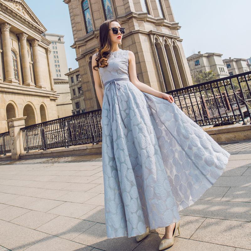 Verão Azul Cinza Organza Jacquard Longo Seção Slim foi fina Dresseless sem mangas vestido Mulheres com vestidos casuais
