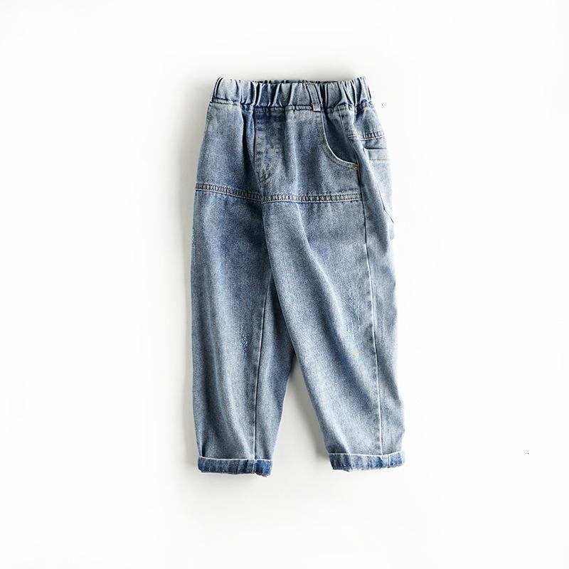 Top Verkauf des Herbstes 2021 Neue Kinder tragen Mittelschule Jungen Hosen Etikett Lässige Jeans