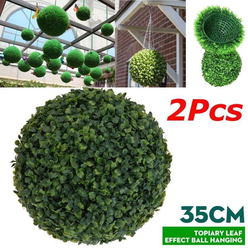Decorative Flowers & Wreaths 2 PCS 35cm Plastic Topiary Tree Leaf Effect Ball Hanging Home Garden Decor Artificial Buxus Balls