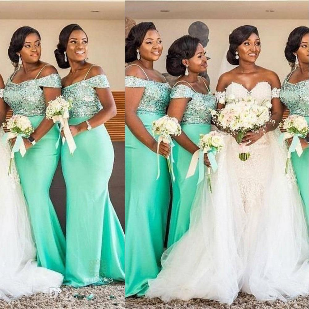 2021 Sexy Sequined Lace Green African Bridesmaid Dresses Off Shoulder Spaghetti Straps Sequins Elastic Satin Mermaid Wedding Guest Prom Gowns Maid Of Honor Dress