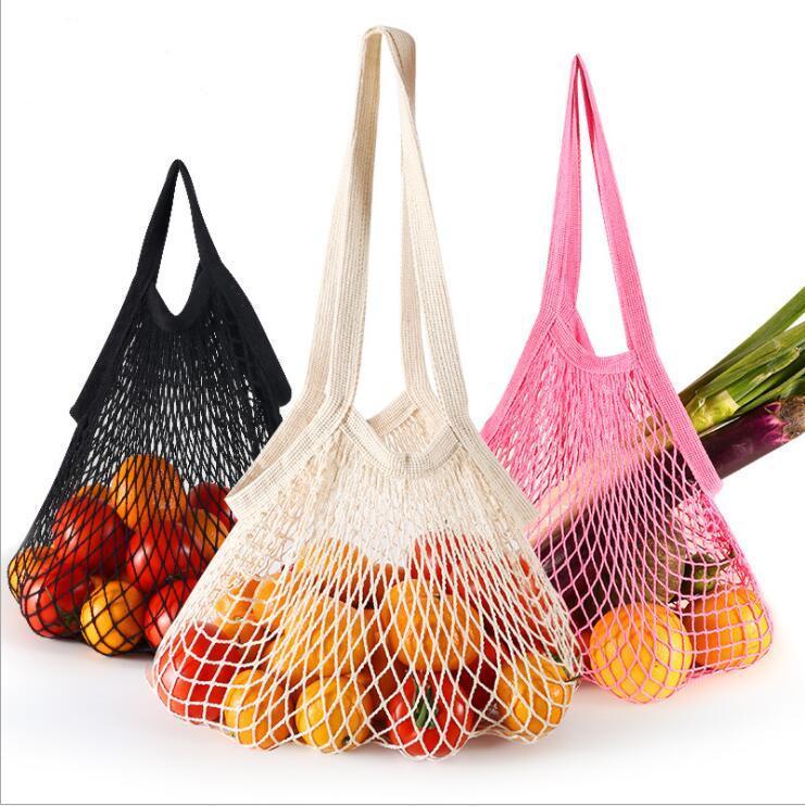 Sac shopping pour les légumes d'épicerie Fruits réutilisables Shopper Tote Sacs à main Portable Coton Net Organisateur Pochette Sac de rangement Accueil Sacs de rangement B7798