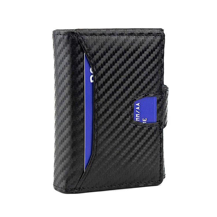 Walletdesign anti-roubo preto carbono tri-fold homens rfid