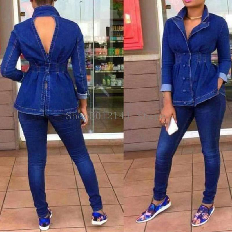 Casual Jeans Suit Women Denim Two Pieces Set V-Neck Long Sleeve Top&Long Pants Slim Tracksuit Outfits High Qualit Piece Dress
