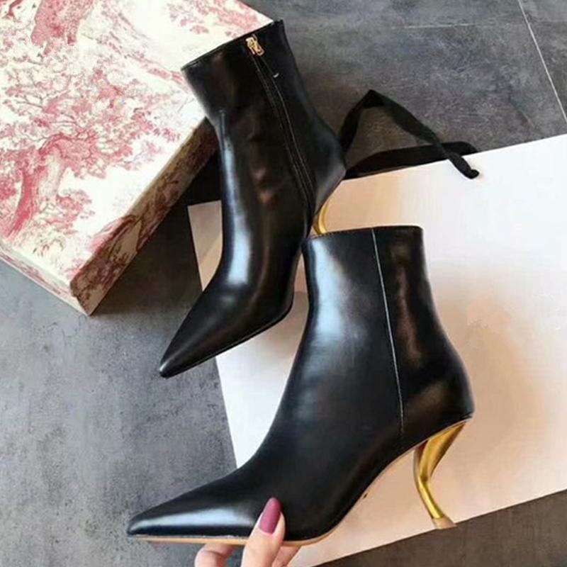 Сапоги Womem Ankle Sexy Stange High каблуки женские насосы ментальные каблуки туфли зима теплая короткая для