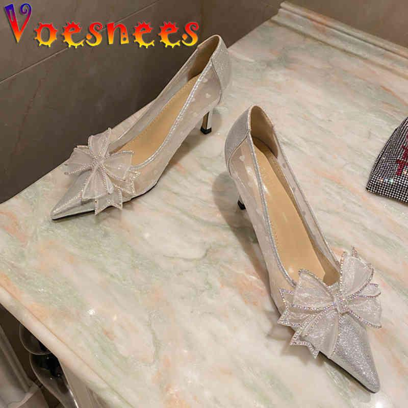 Voesnees Women's Shoes Pumps Mesh Cloth Sequins Pointed Toe Single Shoes Rhinestones Butterfly-knot Shallow High Heels 210514