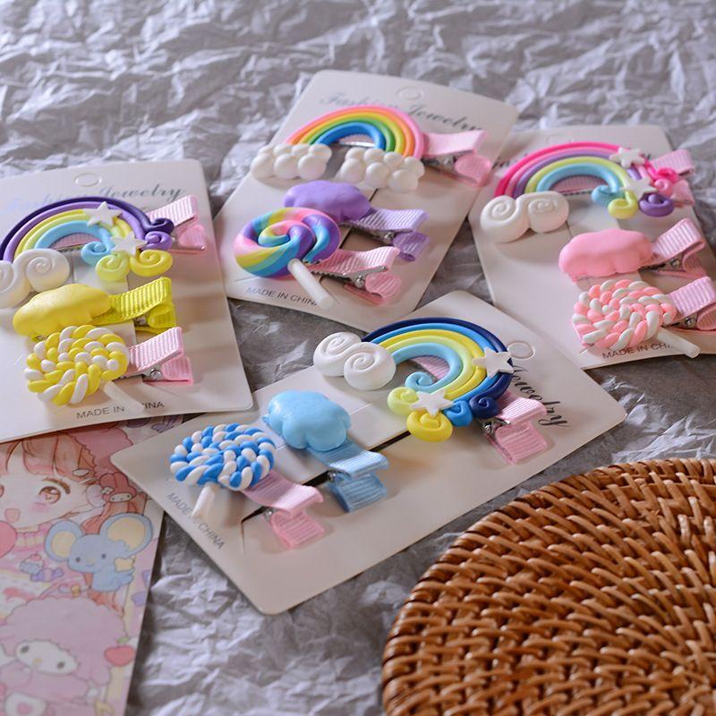 3pcs / Set Candy cloud lecca-lecca i capelli clip per ragazze carino arcobaleno capelli barrettes capelli abbigliamento moda bambini accessori1 1114 y2