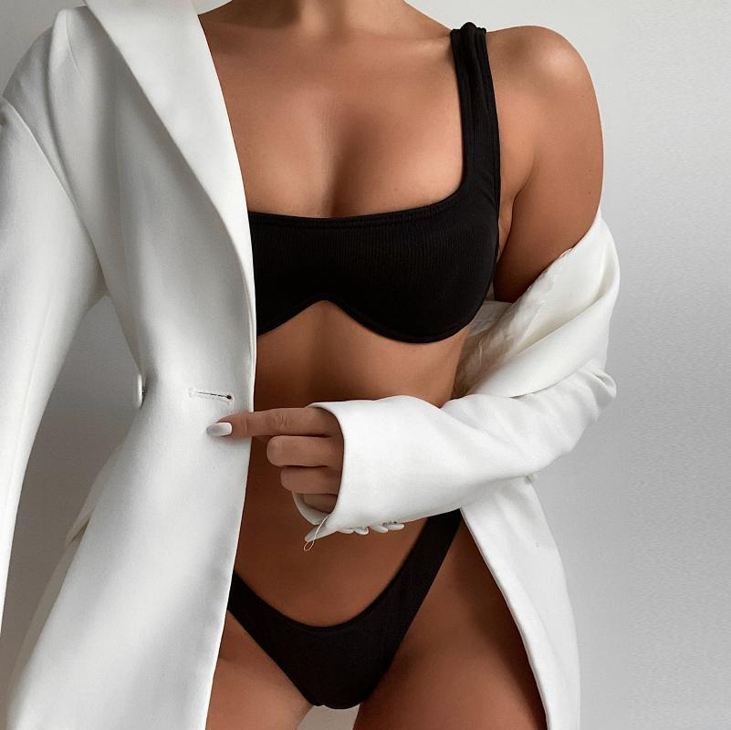 Купальник женский бикини твердый набор двух частей заполнены бюстгальтеры купальники Beachwear лето купальный костюм для женщин Maillot de Bain Femme