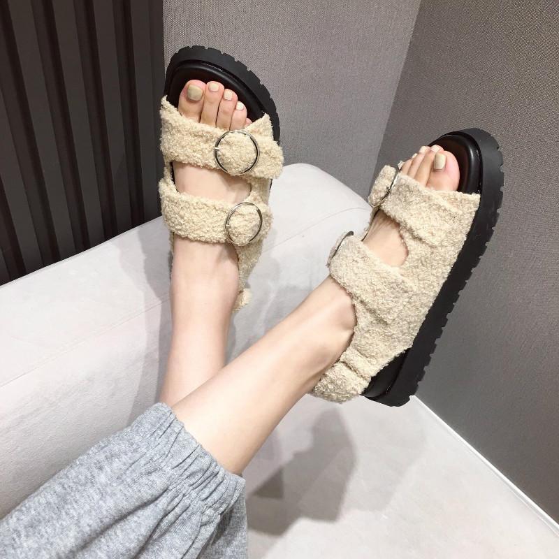 Slingback Platform Sandals Mujeres Fluffy LambSool Deportes Papá Papá Anillo Silver Diseñador Zapatos