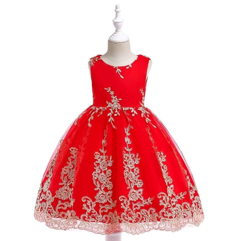 Baby Girl Newembroidery Silk Robe de princesse en soie pour la fête de mariage Robes pour enfants pour enfant enfant bébé fille enfants vêtements de Noël c0223