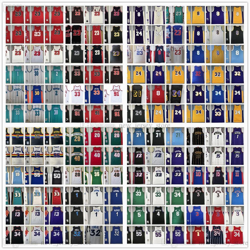 Mitchell y Ness Retro Steins Basketball Jerseys Iverson Pippen Rodman McGrady Anthony Garnett Malone Mutombo Bibby Hill Stockton Kemp Payton Barkley Nash