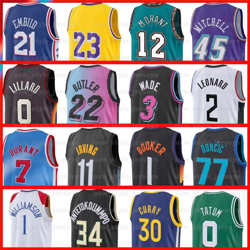 Kevin 7 Durant Kyrie Harden Irving Luka Jerseys Giannis Doncic Joel Simmons Dwyane Embiid Wade Antetokounmpo Pippen Morant