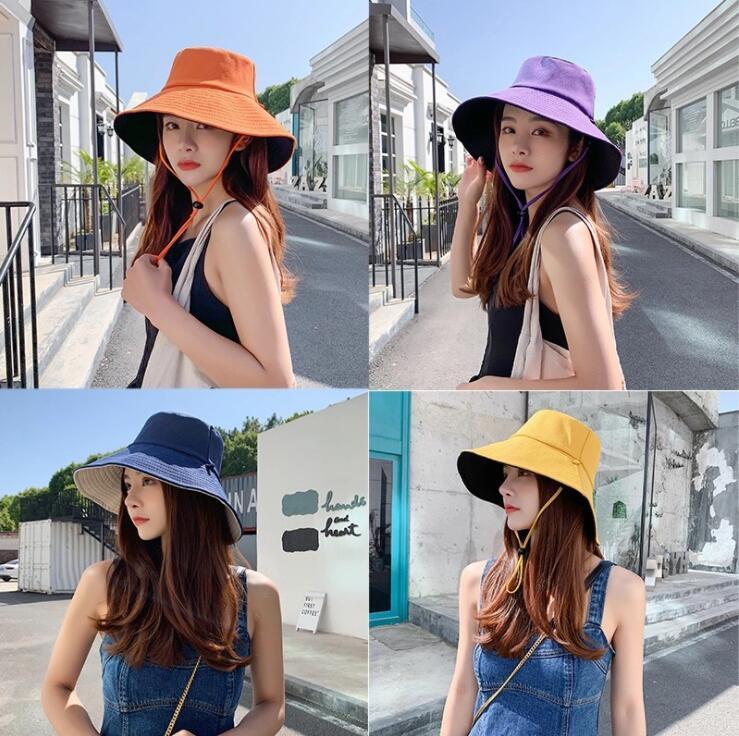 أزياء الصيف قبعة الصياد على الوجهين إمرأة الظل دلو القبعات المد والجزر القطن الكورية نمط كبير بريم uv حماية قبعة