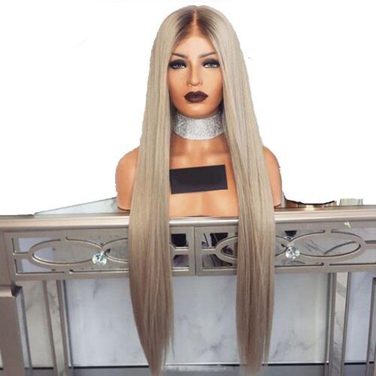 Fashionable Wig Beautiful Goddess Synthetic s Women's Silver Gray Long Straight Hair Medium Split Wig
