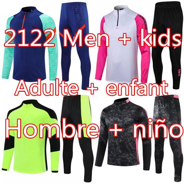 2021 Erkekler + Çocuklar Koşu Futbol Eğitim Eşofman Kitleri 2122 Gerçek Madrid Survetement Ayak Futbol Chandal Futbol Chándal Spor Giyim