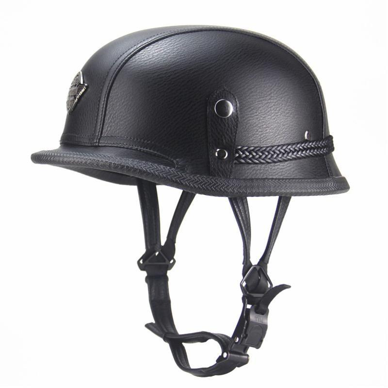 오토바이 헬멧 독일 가죽 빈티지 Casco 모토 오픈 얼굴 레트로 하프퍼 바이커 파일럿 여름입니다. 헬멧