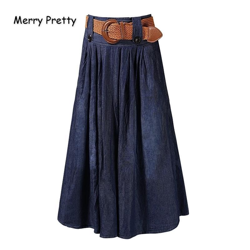 Fröhliche hübsche Frauen Schärpen Denim Plissee Herbst Elastizität Taille Lange Jeans Lässige Feste Midcalf Rock 210324