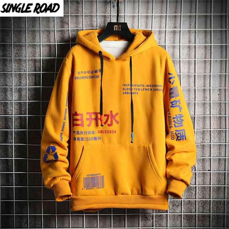 Sweats à capuche pour hommes célibataires Hommes Sweat-shirt Mâle Harajuku Japonais Streetwear Hip Hop Hop Hood Homme Hommes Sweatshirts 210728