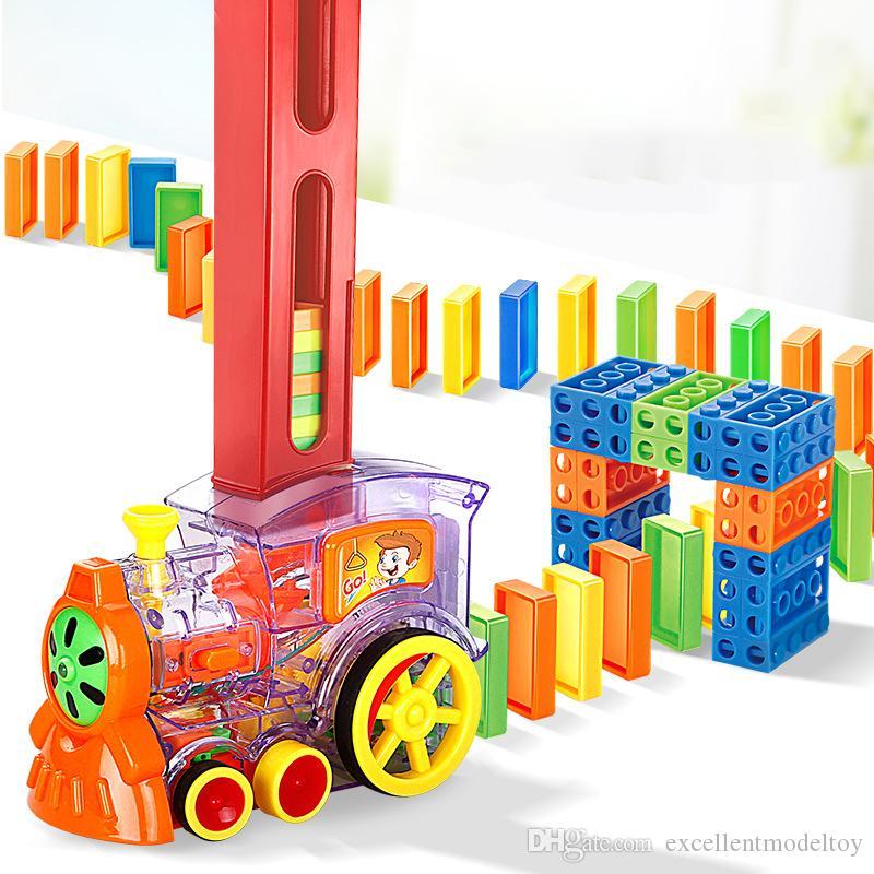 EMT QT6 Creative Domino Automatische Put-In-Züge, mit Lichtern Sound, Science Educational Toy, Elternkind Interaktives Spielzeug, Weihnachtskind-Geburtstagsgeschenk, 2-2