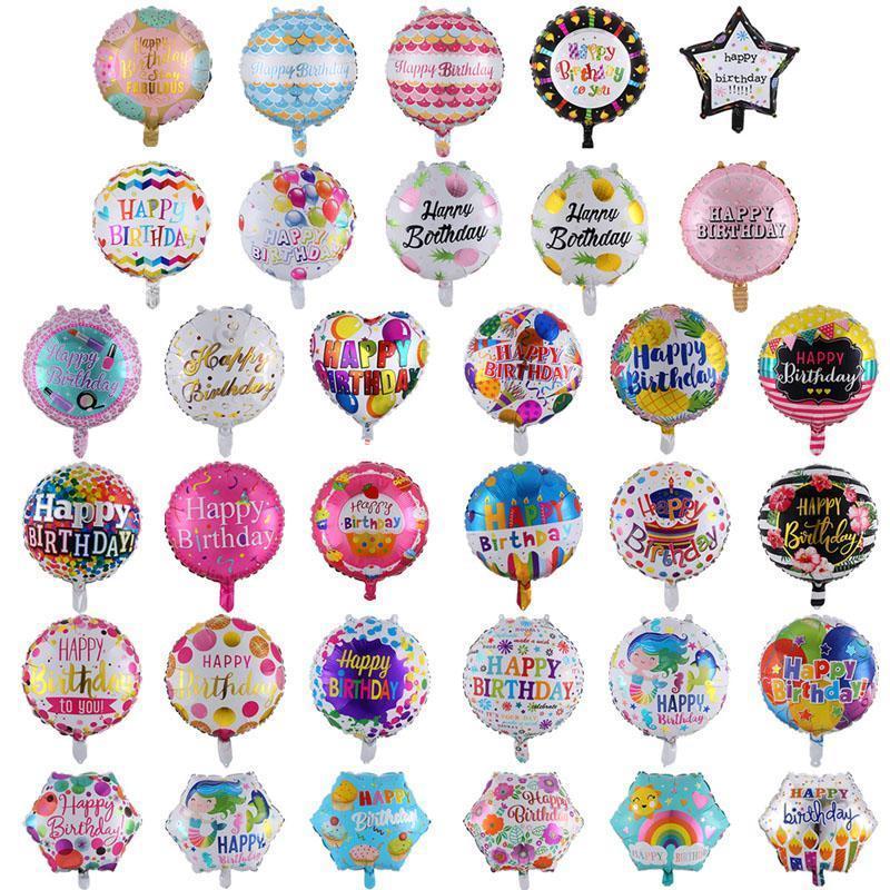 Toptan 18 inç doğum günü balonları 50 adet / grup alüminyum folyo balonlar doğum günü partisi süslemeleri birçok desen karışık