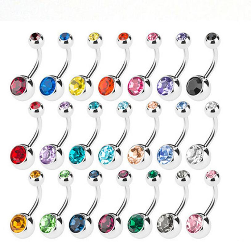 2021 الفولاذ المقاوم للصدأ البطن زر خواتم السرة الكريستال حجر الراين الجسم ثقب القضبان مجوهرات المرأة بيكيني الأزياء والمجوهرات