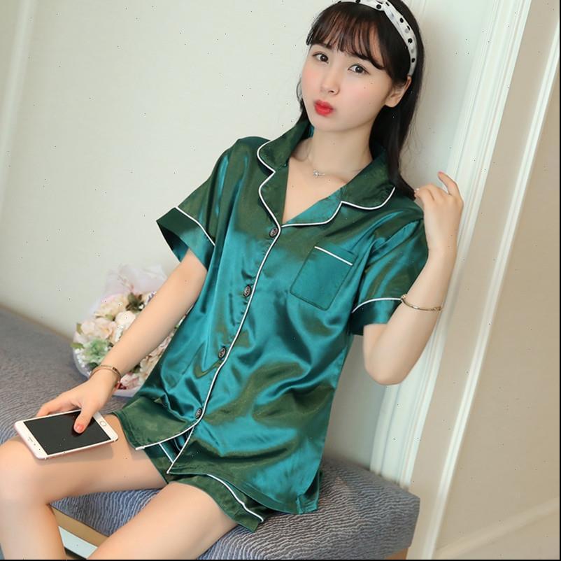 5xl de alta qualidade cetim seda mulheres sleepwear manga curta shorts pijama conjuntos nightie mola mulher 2 peças