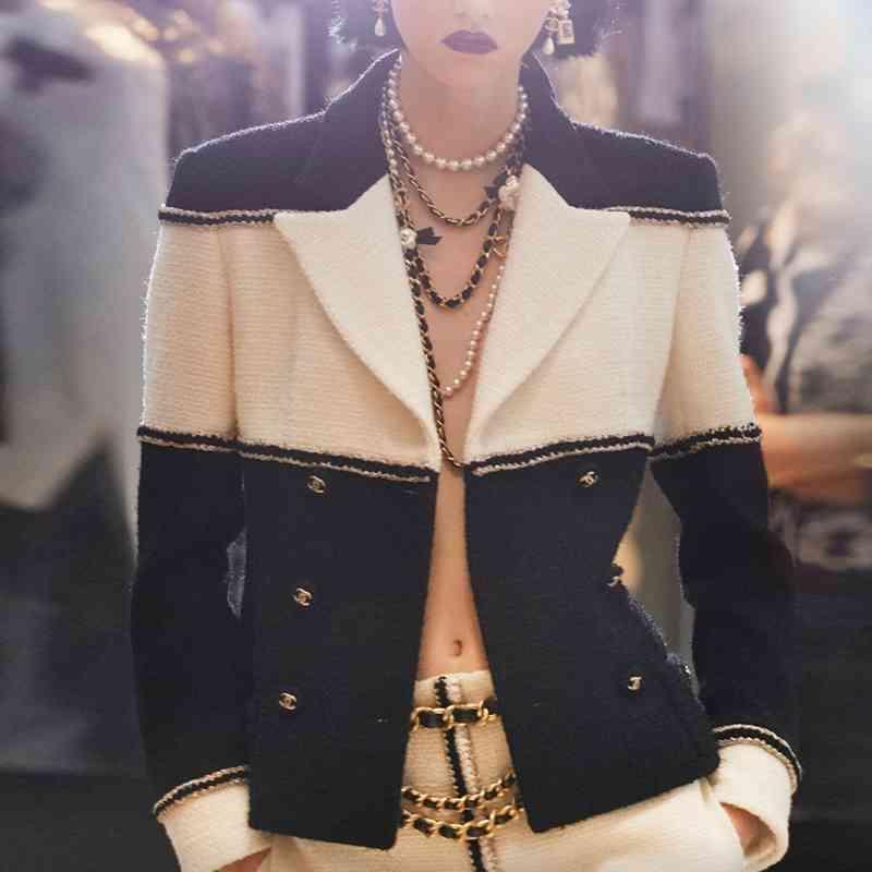 Kadın Takım Elbise Blazers Kadınlar Yün Çift Breated Sonbahar Kış Colorblock Yüksek Streat Ceket Mükemmel Kalite VYY0