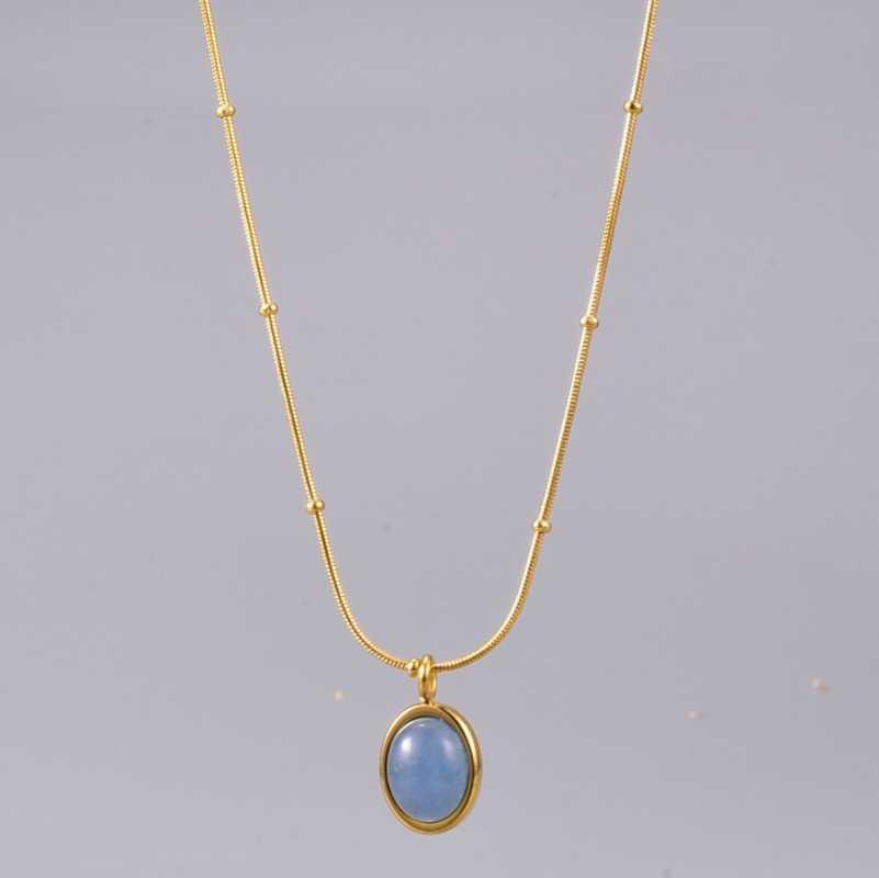 Kolye Kolye Moda Doğa Taş Mavi Oval Deniz Hazine 18 K Altın Kaplama Titanyum Çelik Gerdanlık Zincir Kolye Kadınlar Takı X32