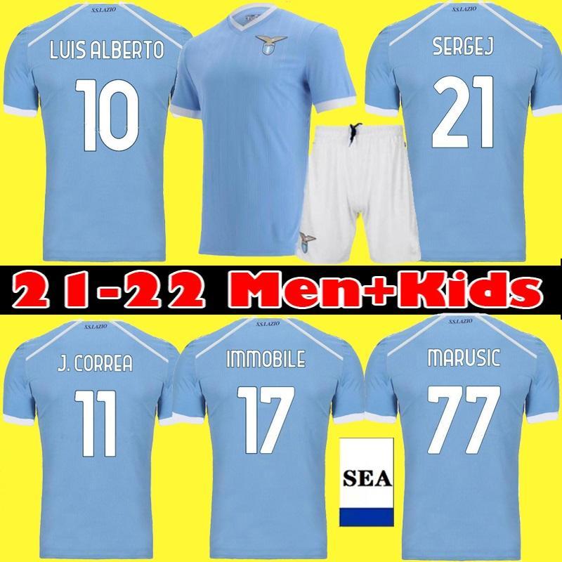 21 22 22 Lazio Home Soccer Jerseys immobile J.Correa Lazzari 2021 2022 Away Maglie LULIC SERGEJ Luis Alberto Adulto Kit per bambini Kit calcio Camicie