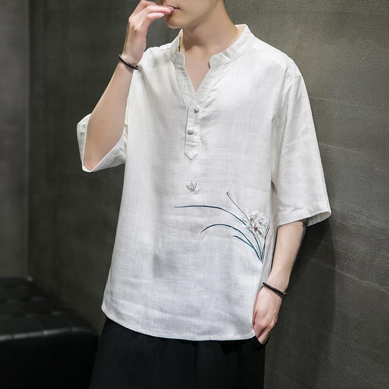 الملابس العرقية المتناثرة الرجال القمصان النمط الصيني التطريز قصيرة الأكمام بلايز الصيف الهيب هوب عارضة القطن قمم تيز الشارع الشهير 3049