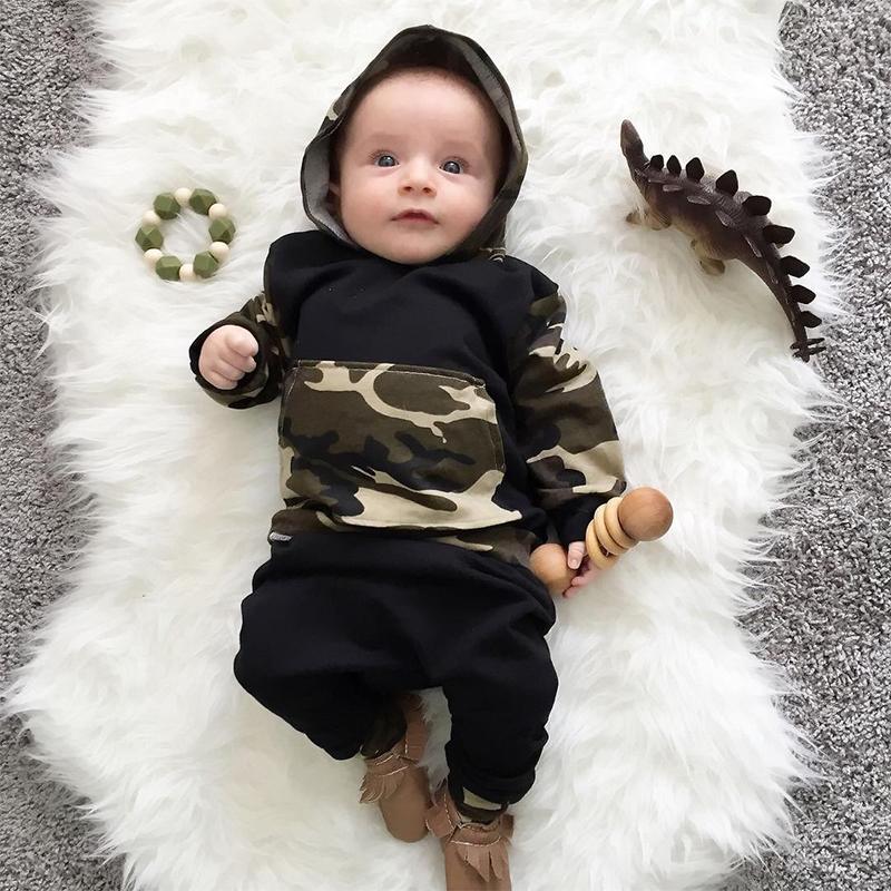 Camuflaje ropa para bebés niños conjunto con capucha top y pantalones nacidos para niños pequeños conjuntos de ropa para niñas