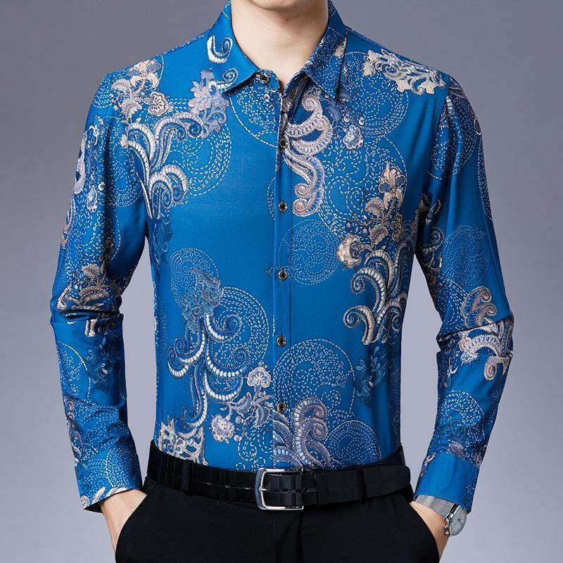 봄과 가을 남자의 인쇄 긴 소매 셔츠 캐주얼 얇은 중년 노인 느슨한 대형 긴 소매 셔츠