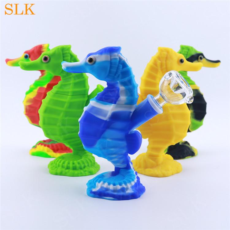 Best selling seahorse shape mini silicone bubbler smoking pipes hookah glass bowl water bubblers pipe line crack cool dab rigs 6.0 inch smoking bong