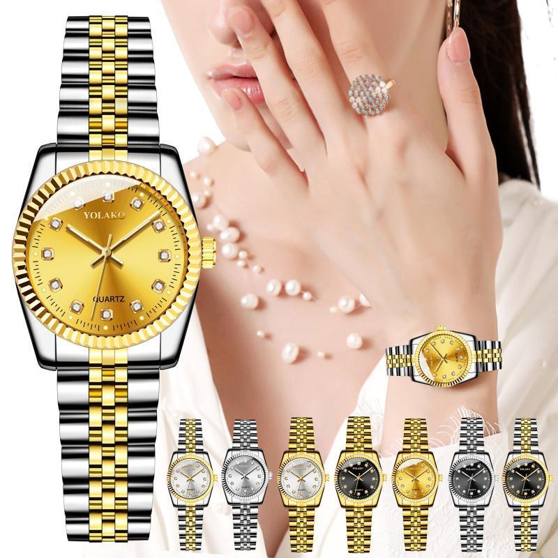 Wristwatches Women Fashion Watches 2021 YOLAKO Ladies Simplicity Casual Trend Quartz Stainless Steel Strap Glass Surface Analog Watch
